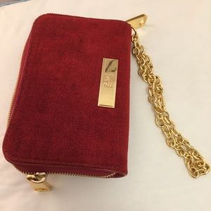 Zac Posen Red Velvet Wristlet with Gold Chain